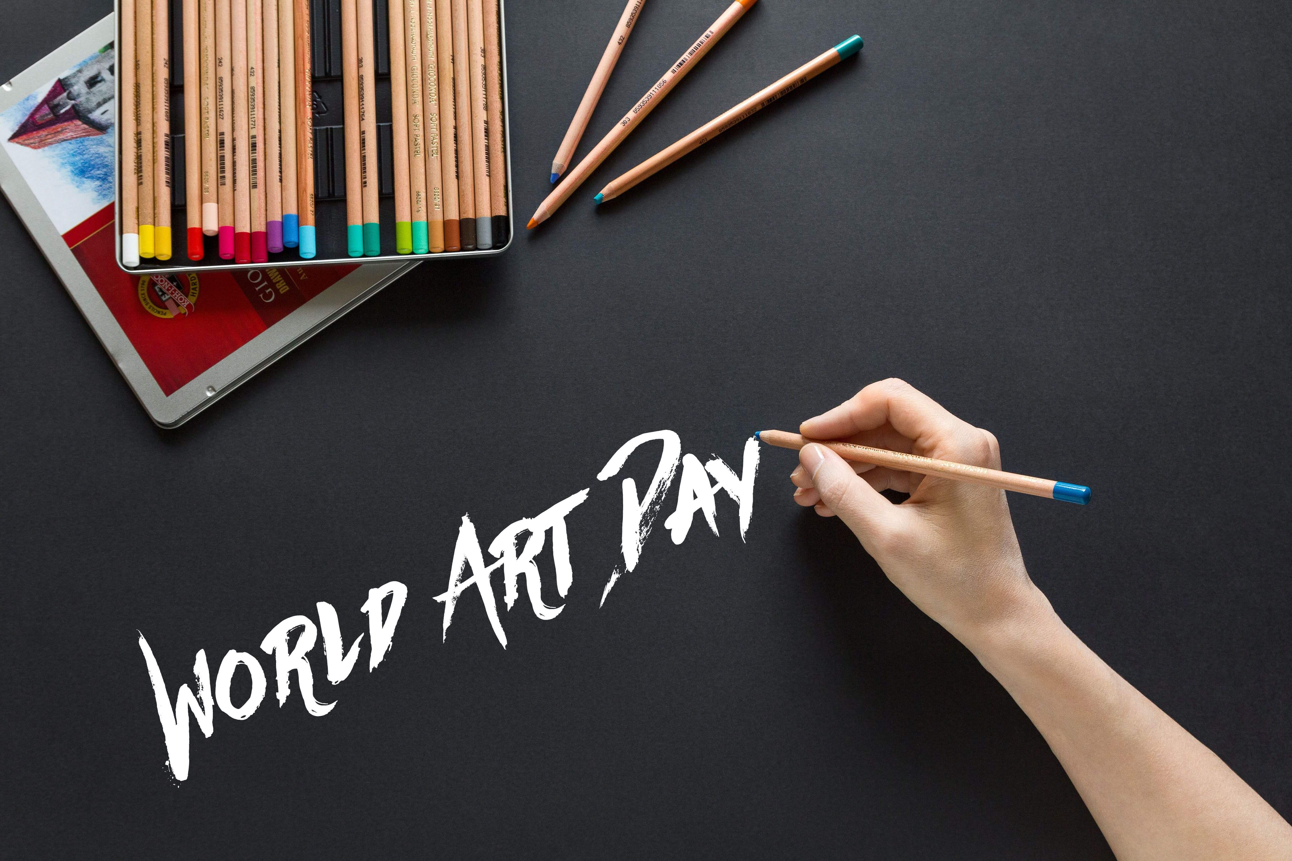 happy world art day color pencils black background hd wallpaper
