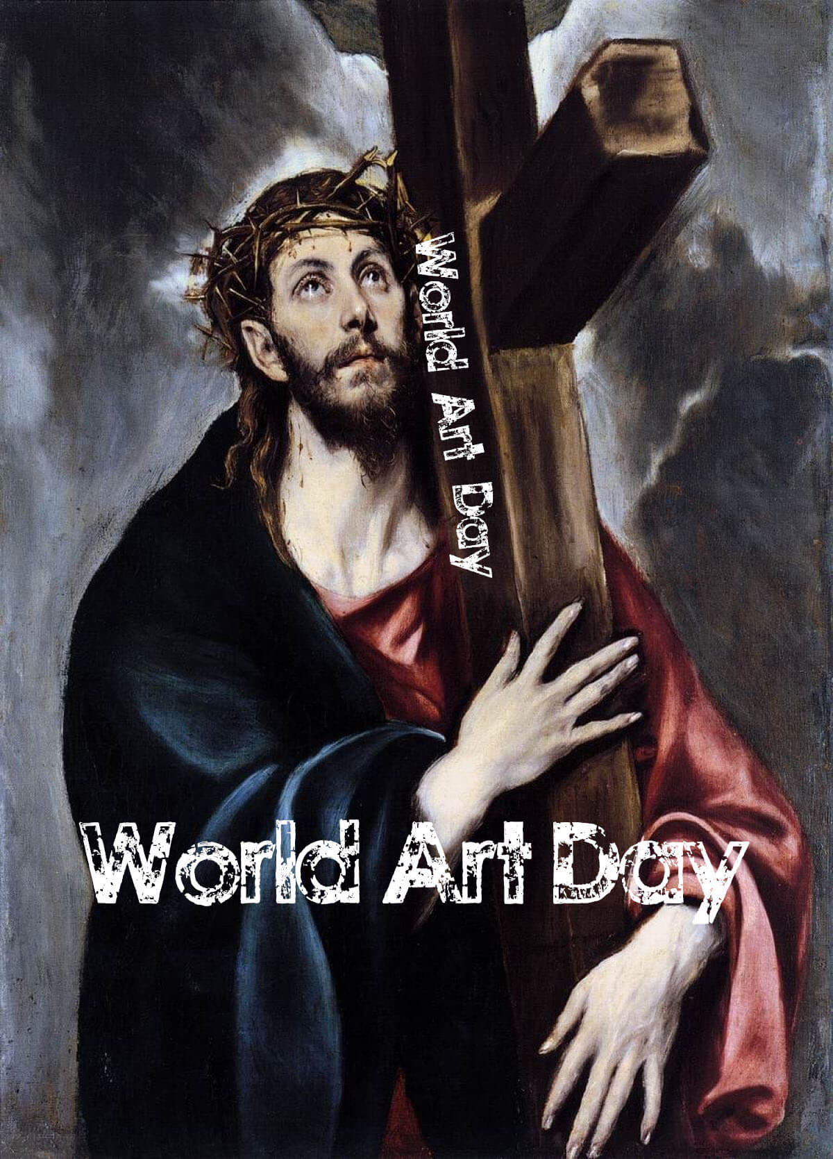 happy world art day modern paintings christ carrying cross wallpaper
