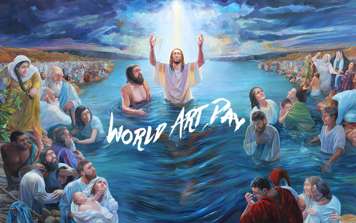 happy world art day modern paintings jesus christ baptism hd wallpaper
