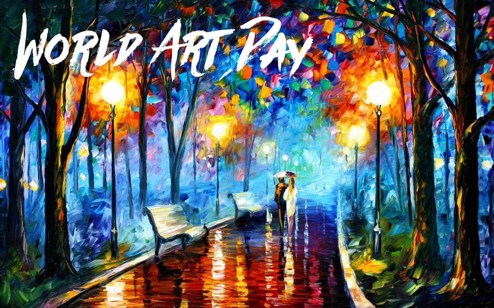 happy world art day modern paintings love couples walking hd wallpaper