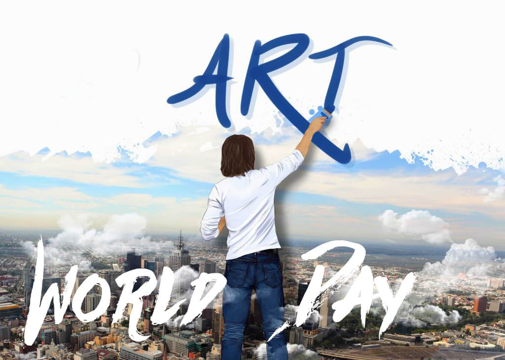 happy world art day modern paintings text on cloud hd wallpaper