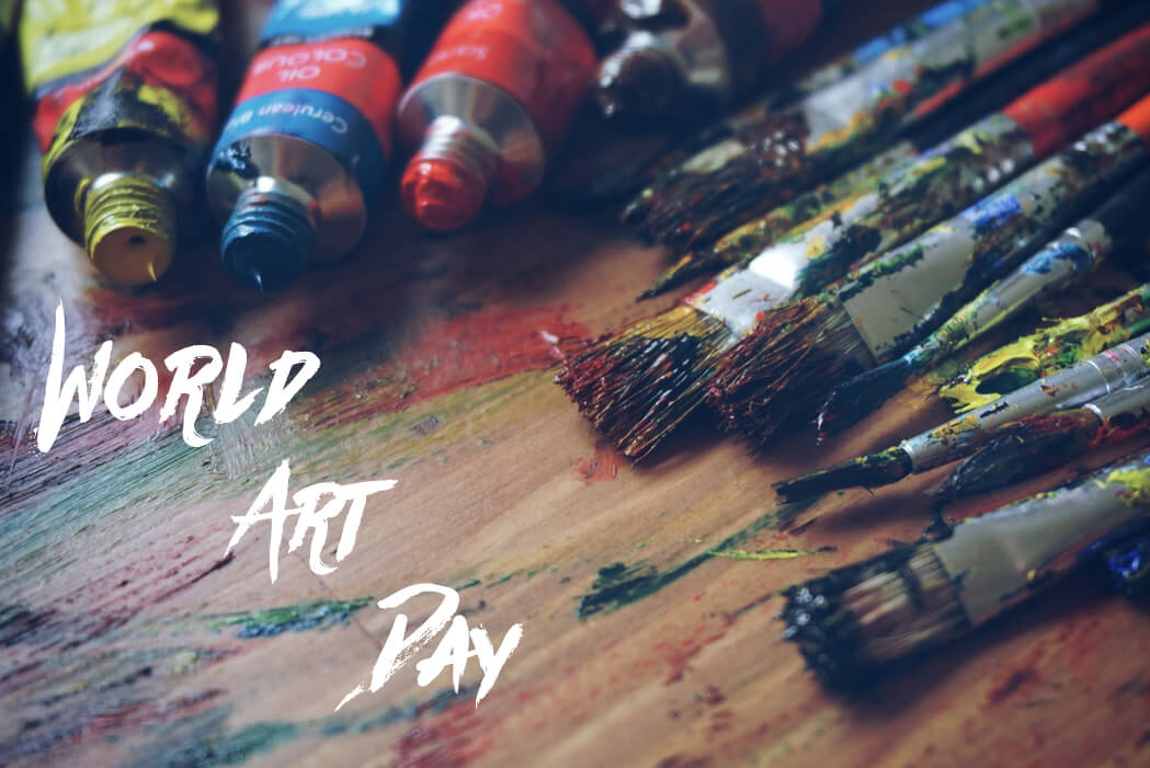happy world art day paintings paint brushes colors hd wallpaper