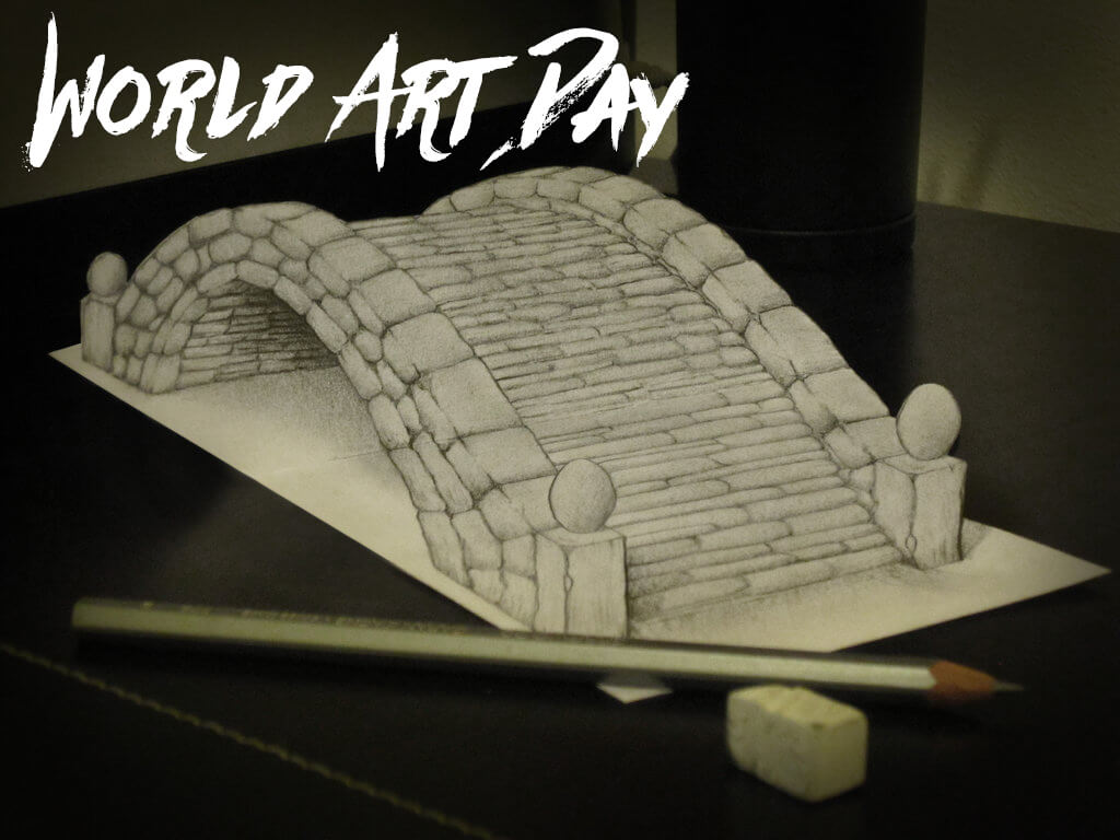happy world art day pencil art 3d bridge illusion wallpaper