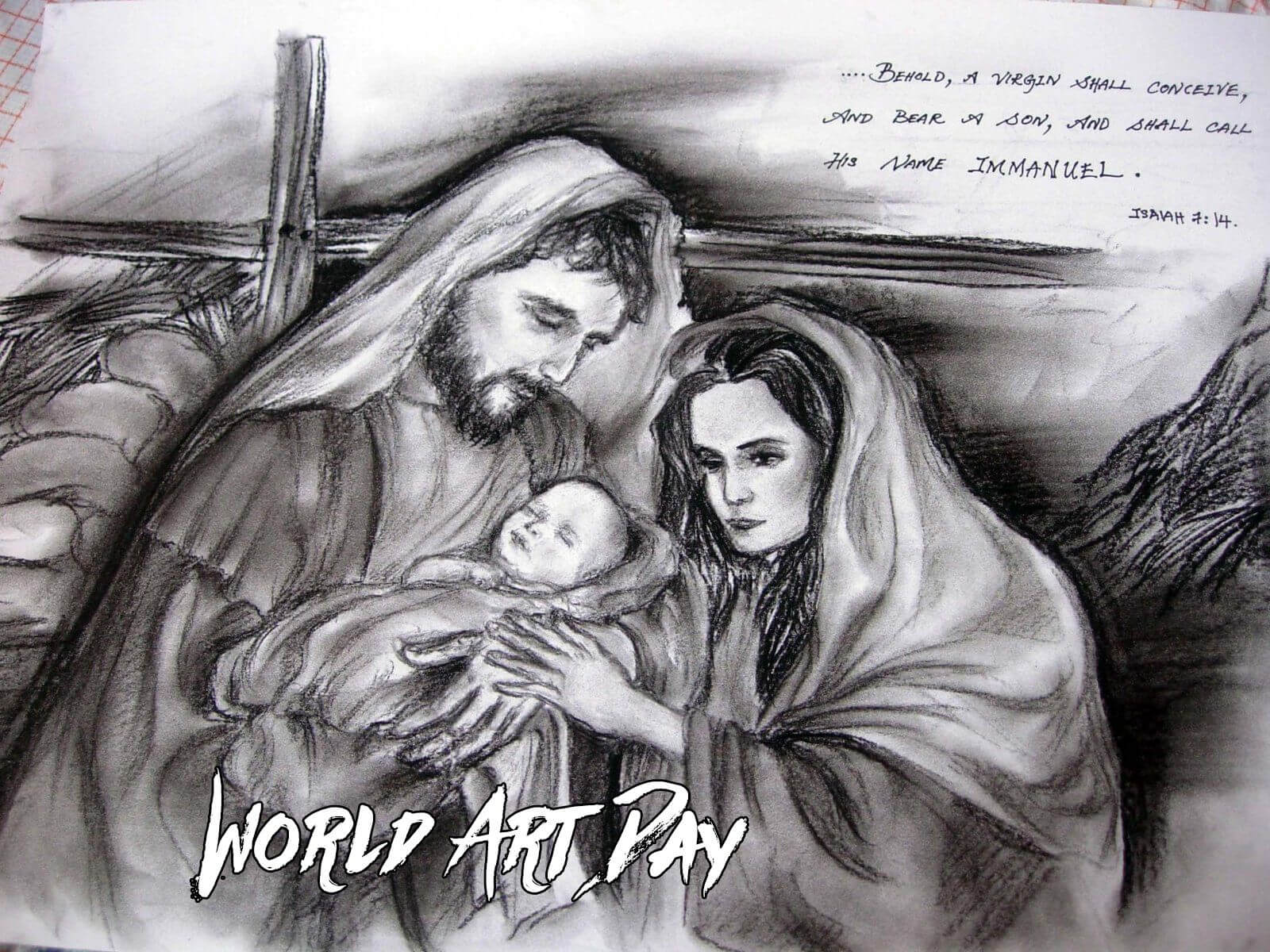 happy world art day pencil art baby jesus joseph mary wallpaper