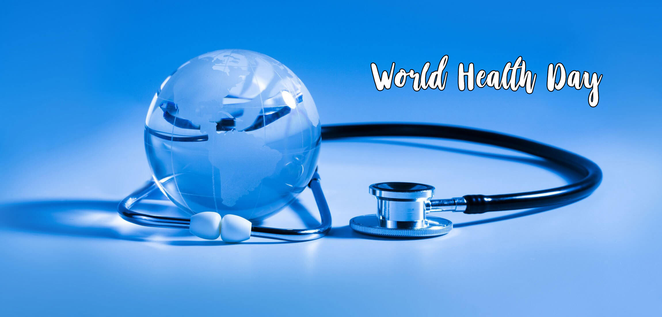 happy world health day globe crystal stethoscope wide hd wallpaper