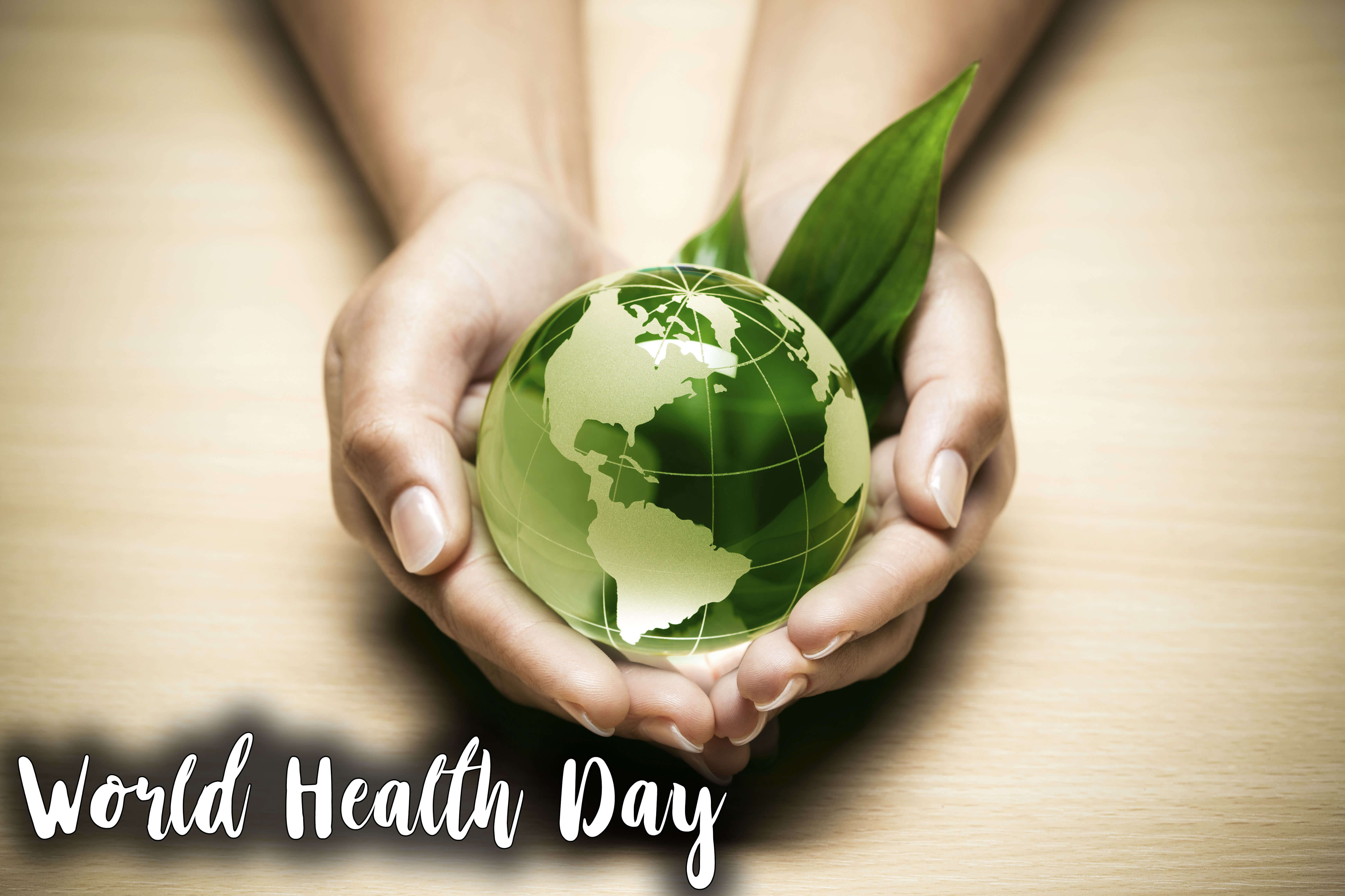 happy world health day protect save globe on hands hd wallpaper