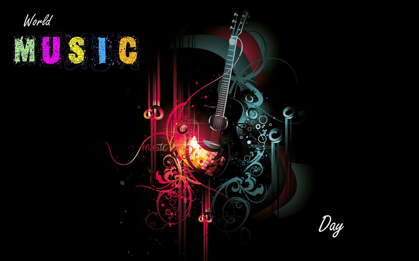 happy world music day 3d hd guitar wallpaper