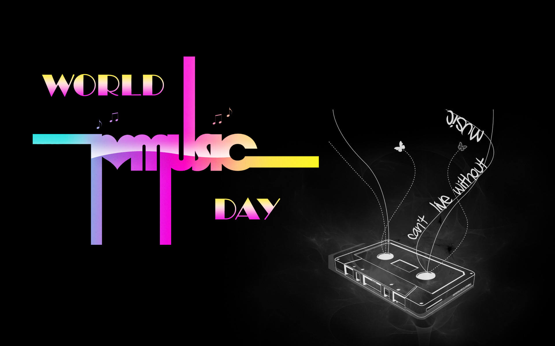 happy world music day cassette hd wallpaper
