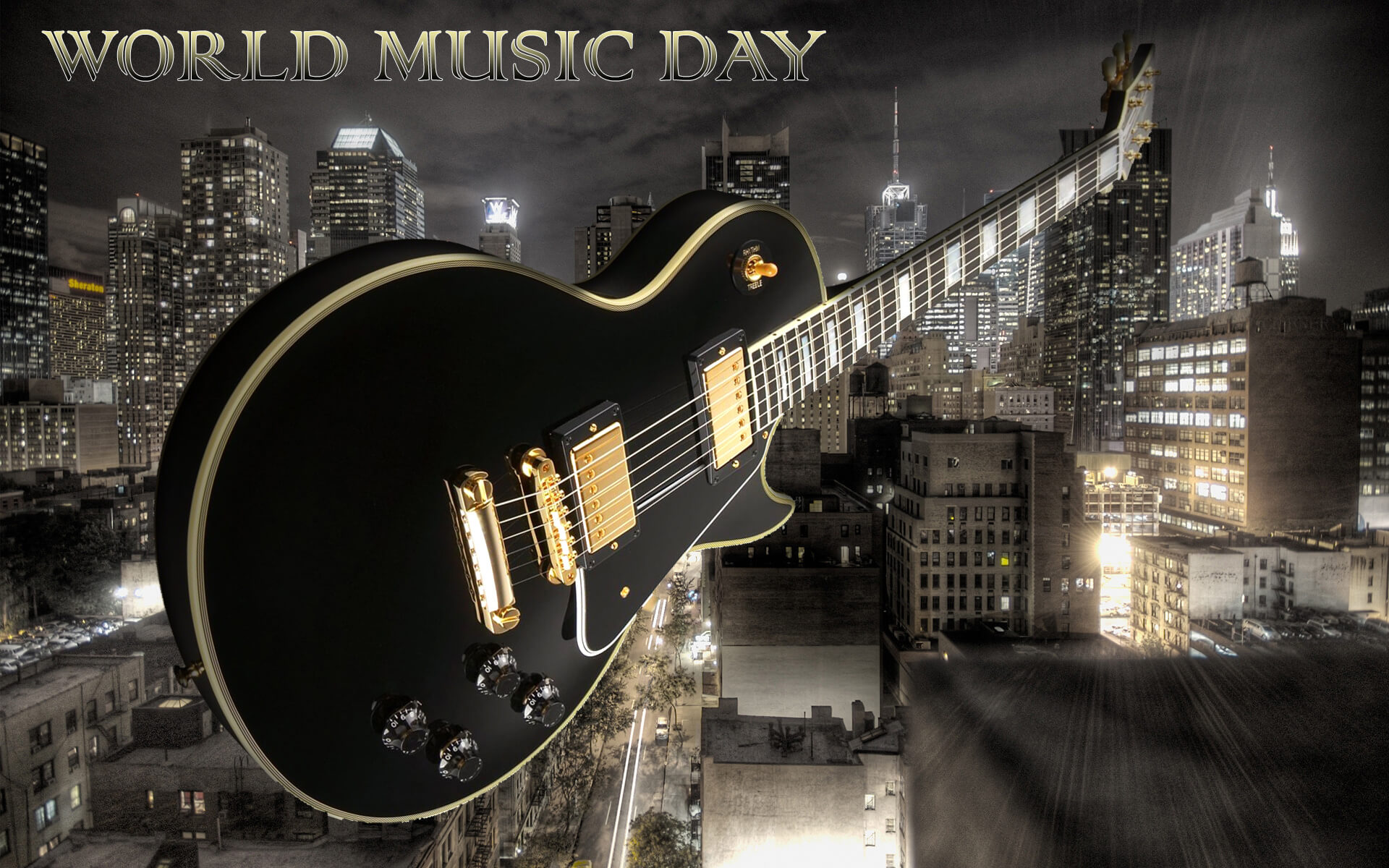 happy world music day guitar around the world