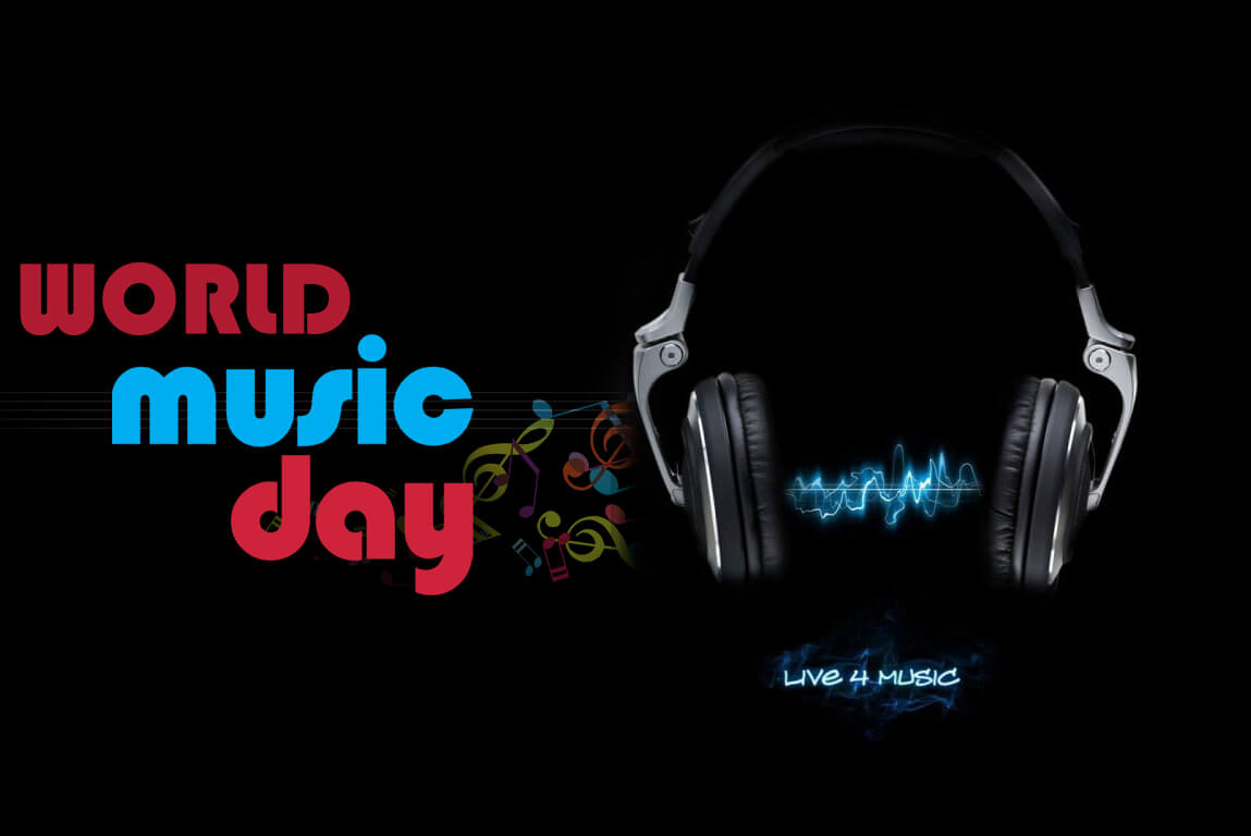 happy world music day hd head phones wallpaper