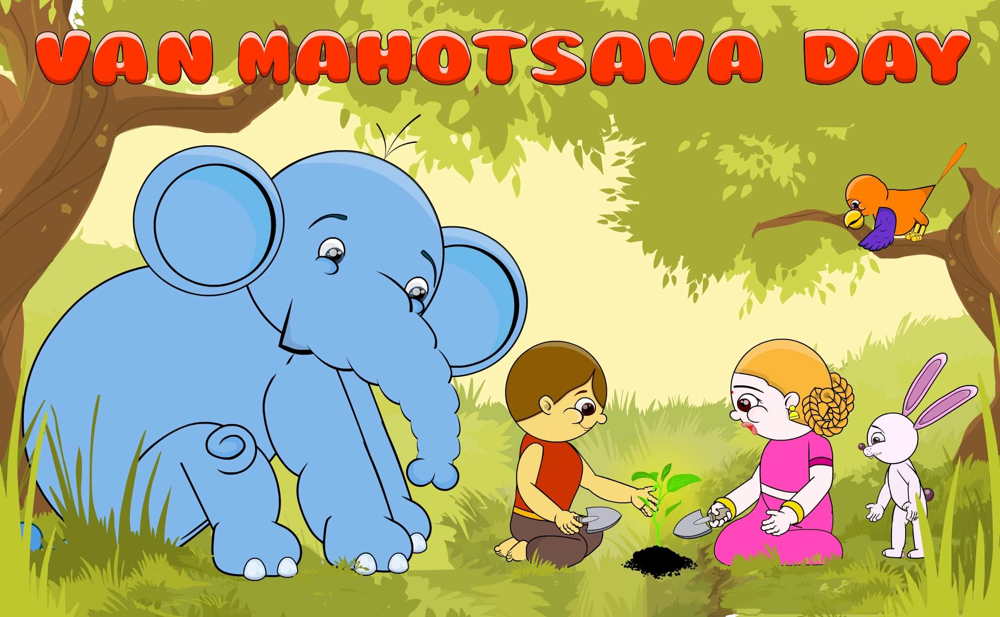 van mahotsav day tree planting cartoon jungle save nature wallpaper