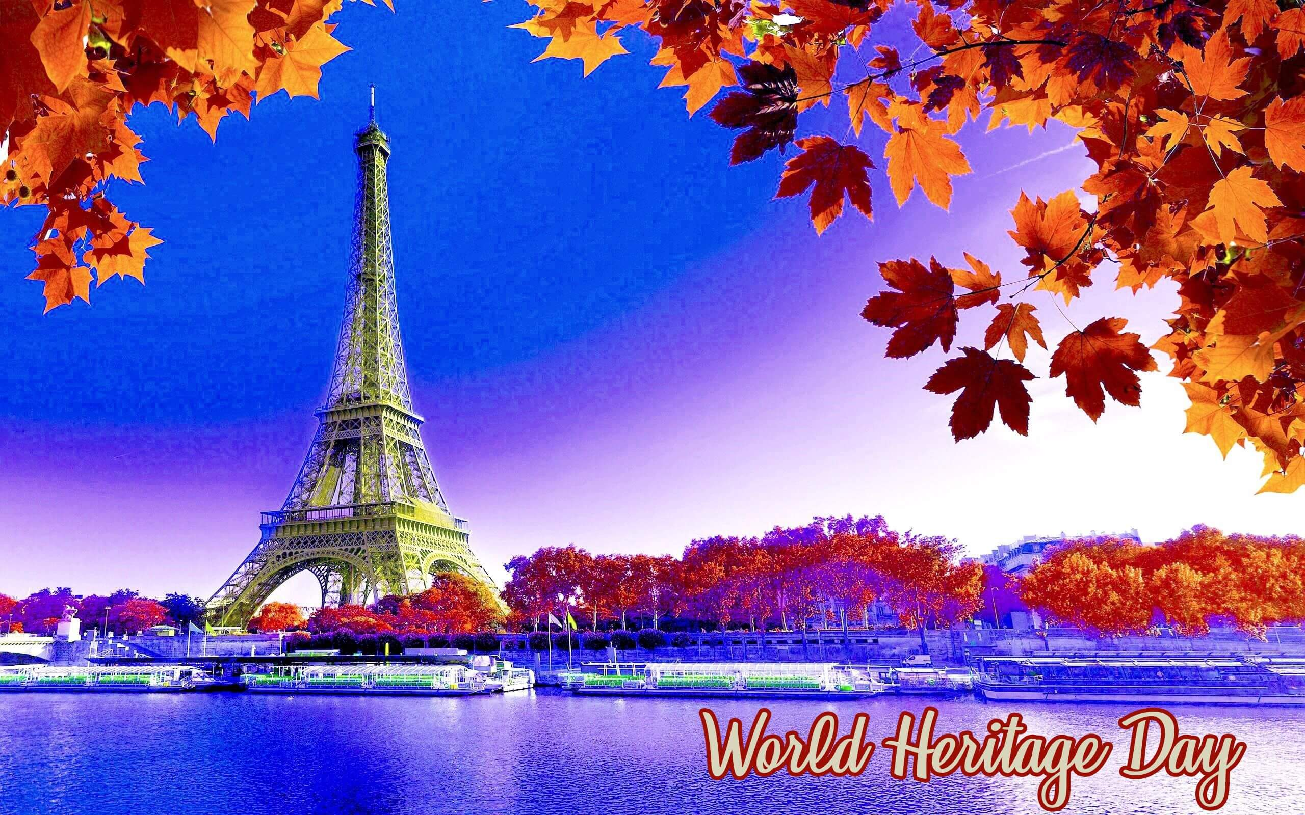 world heritage day monuments eiffel tower autumn sky water boats wallpaper