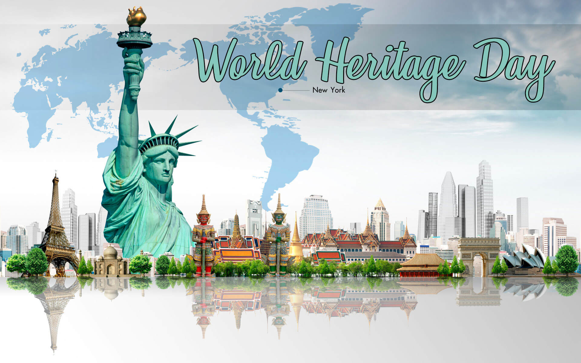 world heritage day monuments eiffel tower liberty of statue hd wallpaper