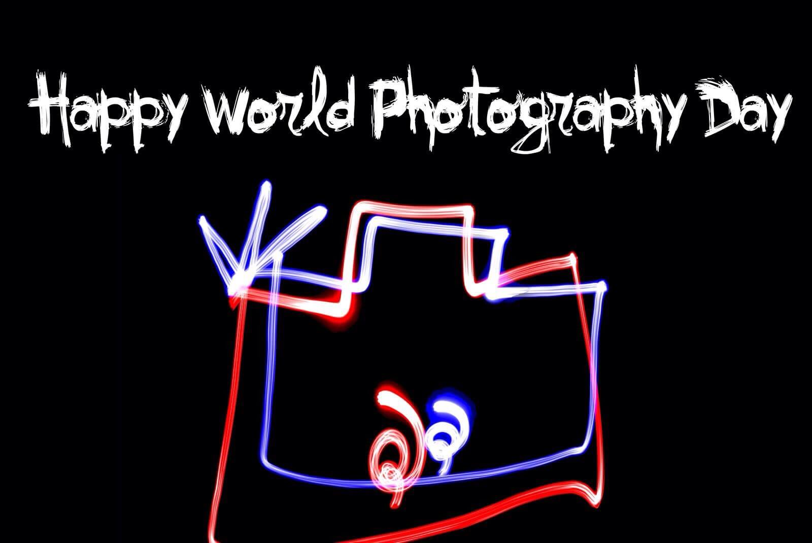 world photography day glowing camera icons wallpaper