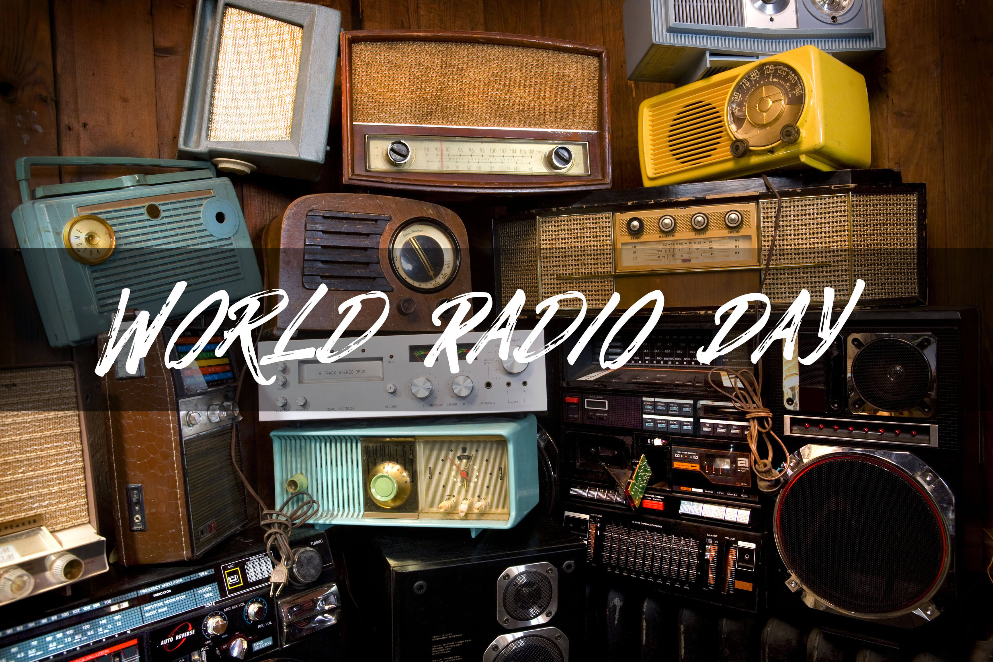 world radio day different types radios background hd wallpaper