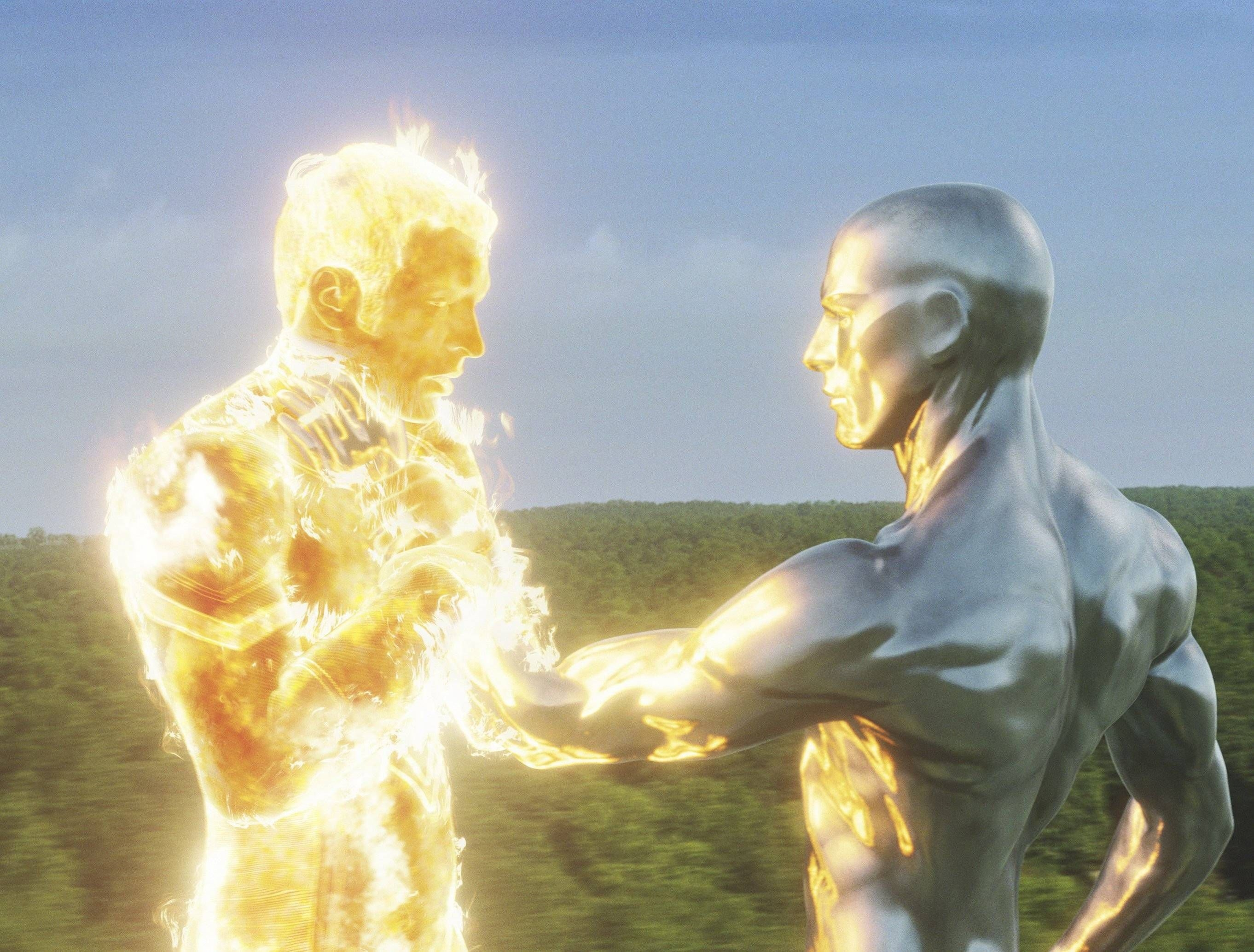 fantastic 4 silver surfer chocking the human torch