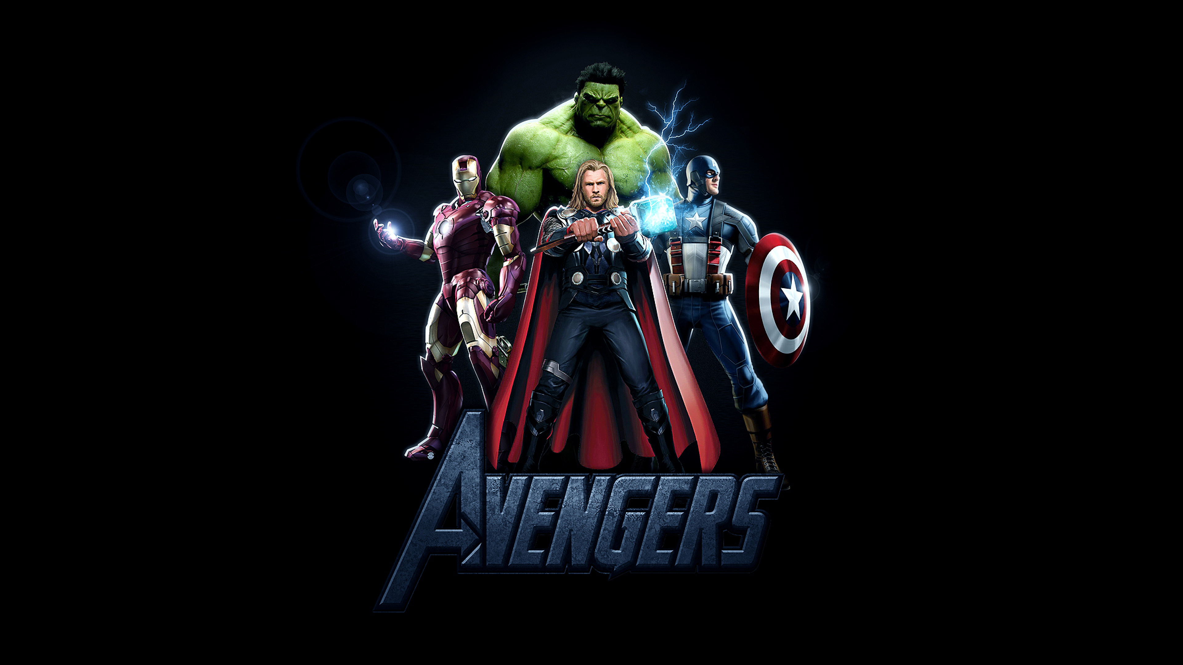 Hulk Ironman Captainamerica Thor Marvel Comics Powerfull Avengers Hd Wallpaper