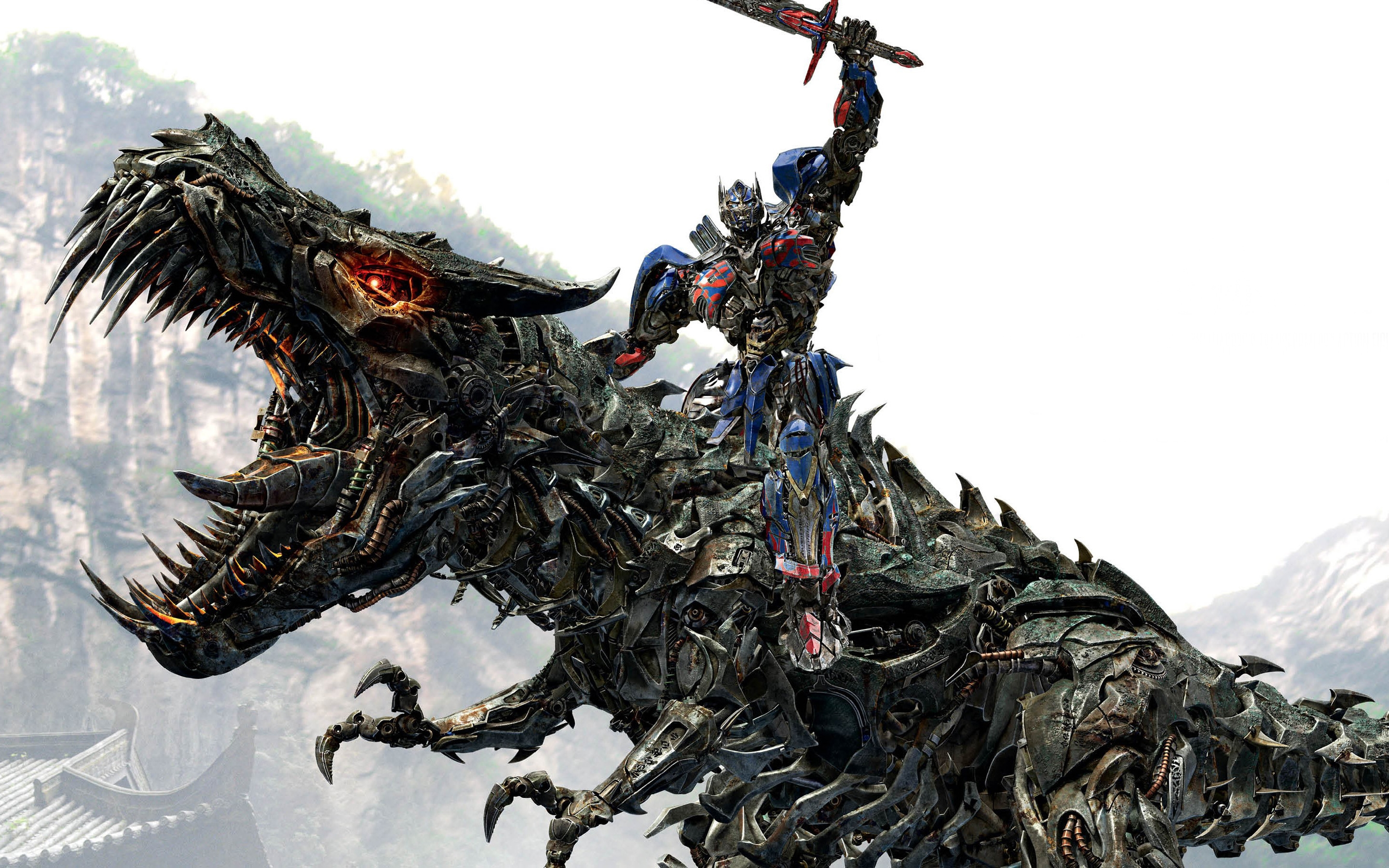 optimus prime riding grimlock dinobots wide