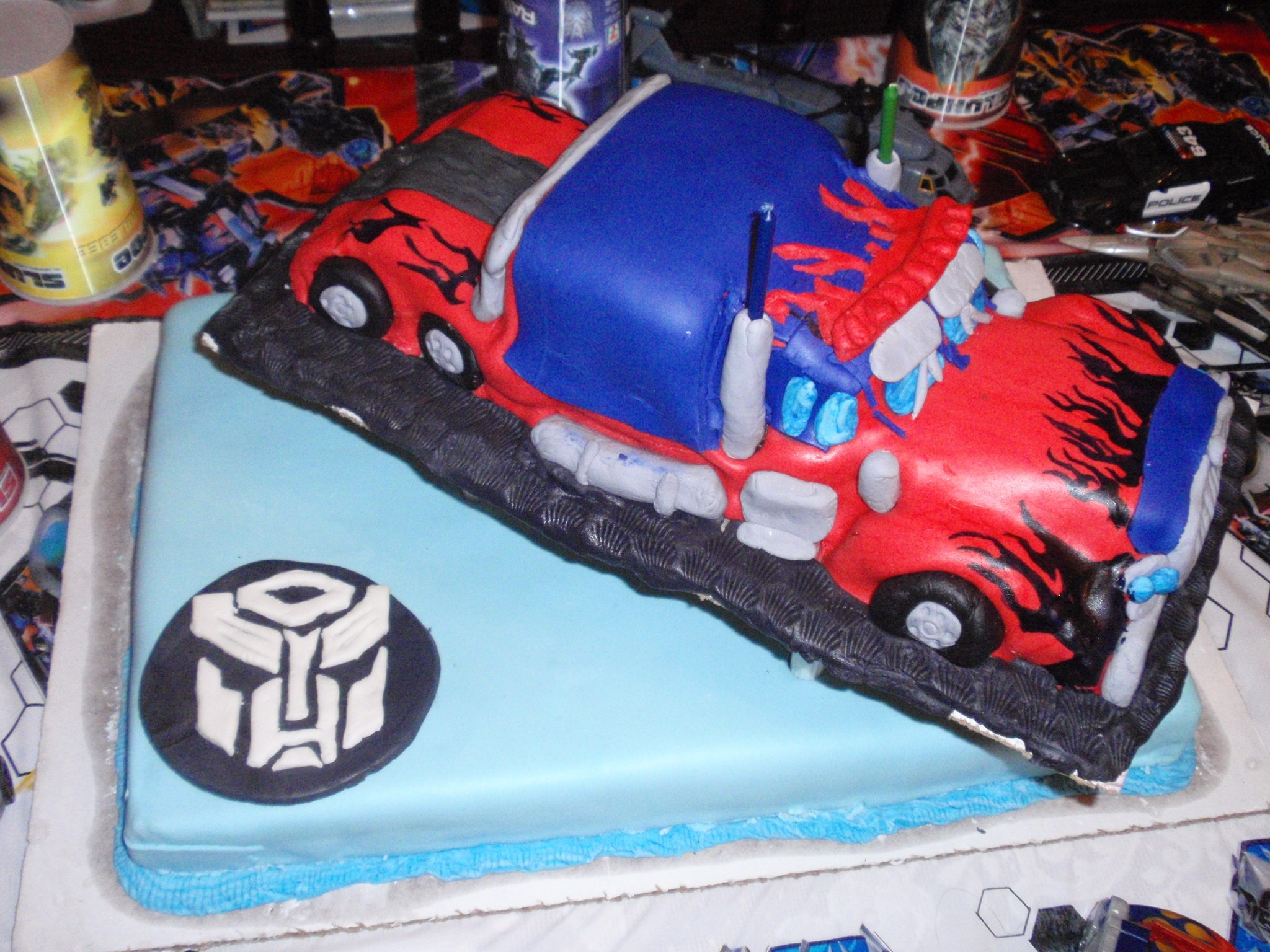 optimus prime transformer birthday cake